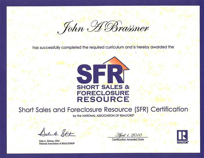 Short Sale Certificate SFR